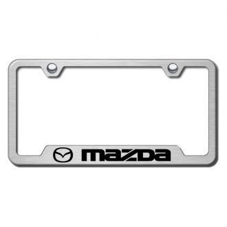 Autogold® - Mazda Laser Etched Logo on Brushed Stainless License Frame with Cut-Outs