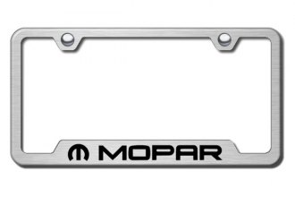 Autogold® - Mopar Logo on Brushed Stainless License Plate Frame with Cut-Outs