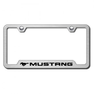Autogold® - Mustang Laser Etched Logo on Brushed Stainless Frame with Cut-Outs