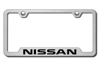 Autogold® - Nissan Logo on Brushed Stainless License Plate Frame