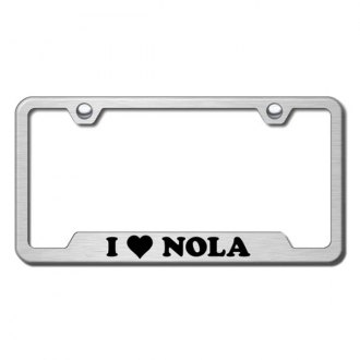 Autogold® - NOLA Laser Etched Logo on Brushed Stainless License Frame with Cut-Outs
