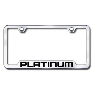Autogold® - Platinum Laser Etched Logo on Chrome License Frame with Cut-Outs