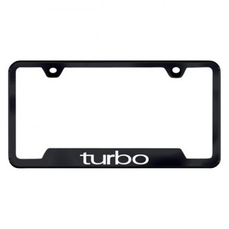 Autogold® - Turbo Laser Etched Logo on Black License Frame with Cut-Outs