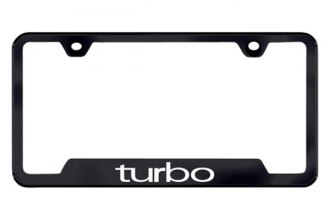 Autogold® - Turbo Logo on Black License Plate Frame