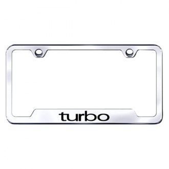 Autogold® - Turbo Laser Etched Logo on Chrome License Frame with Cut-Outs
