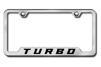 Autogold® - Turbo New Logo on Brushed Stainless License Plate Frame