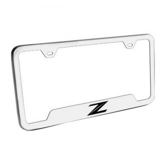 Autogold® - Z Laser Etched Logo on Brushed Stainless License Frame with Cut-Outs