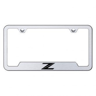 Autogold® - Z New Design Laser Etched Logo on Brushed Stainless License Frame with Cut-Outs