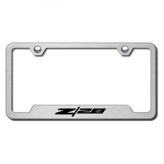 Autogold® - Z28 Logo on Brushed Stainless License Plate Frame with Cut-Outs