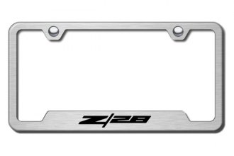 Autogold® - Z28 Logo on Brushed Stainless License Plate Frame