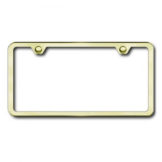 Autogold® - Slimline Plain 2-Hole Gold License Plate Frame