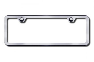 Autogold® - Brushed Stainless 2-Hole Mini License Plate Frame
