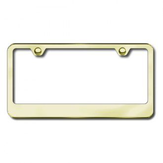 Autogold® - 2-Hole Wide Bottom Gold License Plate Frame