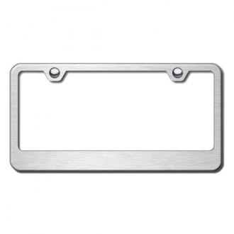 Autogold® - Wide Bottom on Brushed Stainless License Plate Frame