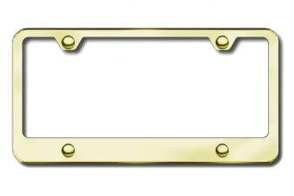 Autogold® - 4-Hole Wide Bottom Gold License Plate Frame