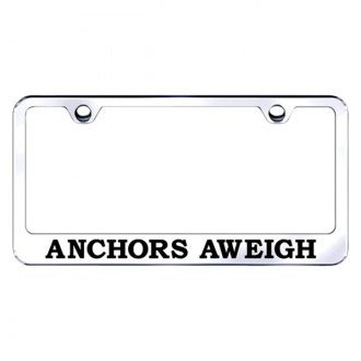 Autogold® - Chrome License Plate Frame with Laser Etched Anchors Aweigh Logo