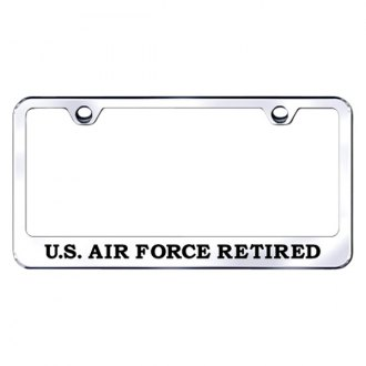 Autogold® - Chrome License Plate Frame with Laser Etched US Air Force Retired Logo