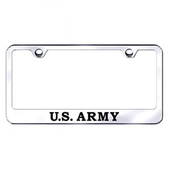 Autogold® - Chrome License Plate Frame with Laser Etched U.S. Army Logo