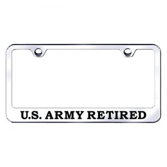 Autogold® - License Plate Frame with Laser Etched U.S. Army Retired Logo