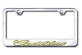 Autogold® - 3D Gold Cadillac Logo on Chrome Frame