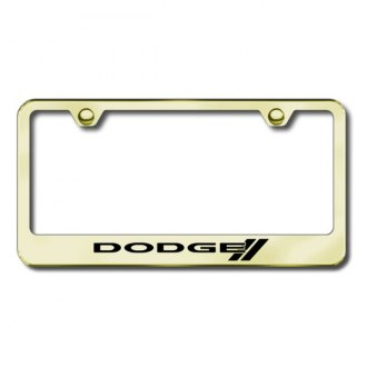 Autogold® - Dodge Stripes Laser Etched Logo on Gold License Frame
