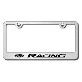Autogold® - Ford Racing Logo on Brushed Stainless License Plate Frame