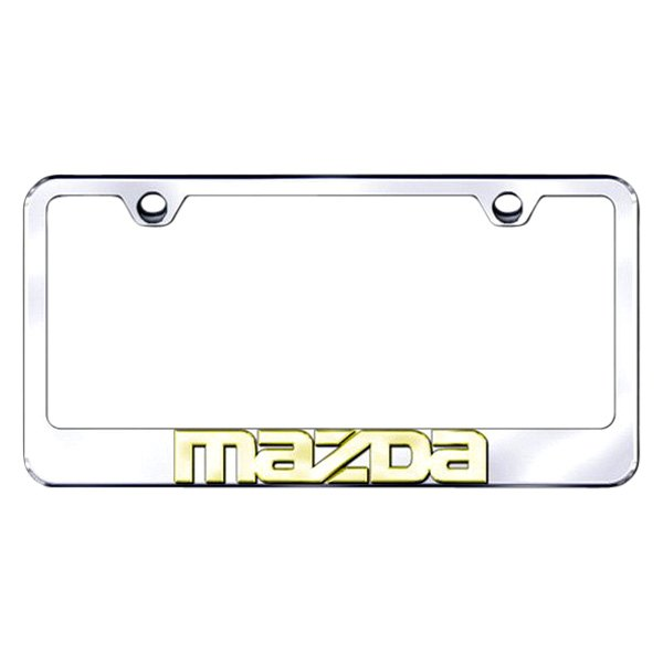 Autogold® - 3D Gold Mazda Logo on Chrome Frame