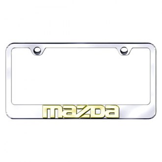 Autogold® - Chrome License Plate Frame with 3D Gold Mazda Logo
