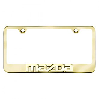 Autogold® - 3D Gold Mazda Logo on Gold Frame