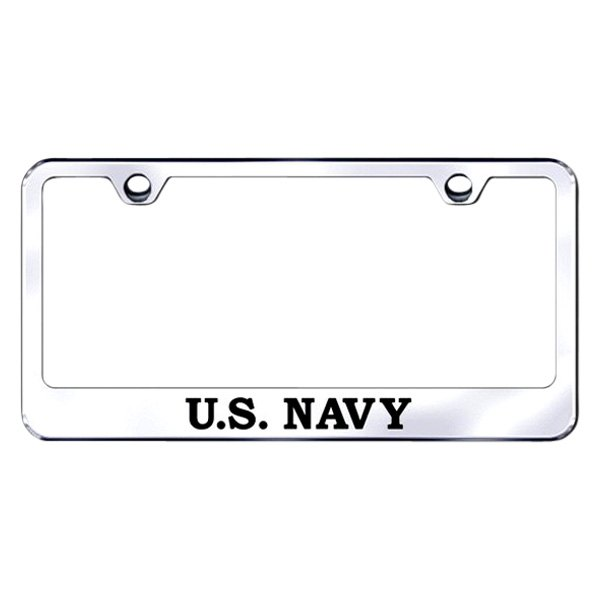 Autogold® LF.NAVY.EC - Chrome License Plate Frame with Laser Etched ...