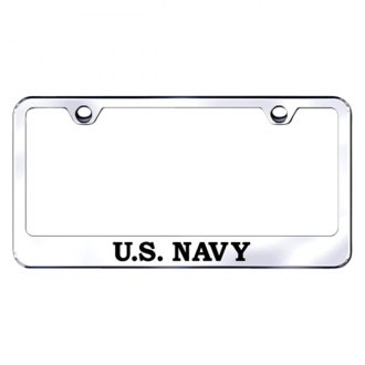 Autogold® - Chrome License Plate Frame with Laser Etched US Navy Logo