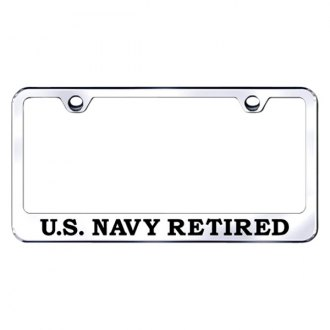 Autogold® - License Plate Frame with Laser Etched US Navy Retired Logo