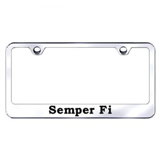 Autogold® - Chrome License Plate Frame with Laser Etched Semper Fi Logo