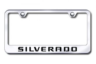 Autogold® - Laser Etched Silverado Logo on Chrome Metal Frame