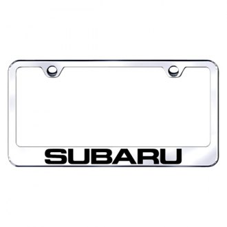 Autogold® - Laser Etched Subaru Logo on Chrome Metal License Frame