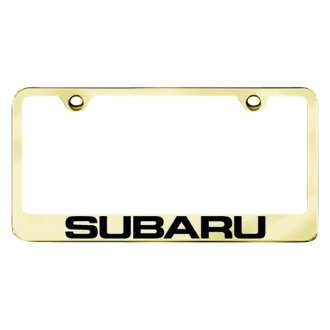 Autogold® - Gold License Plate Frame with Laser Etched Subaru Logo