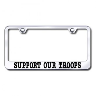 Autogold® - Support Our Troops Laser Etched Logo on Chrome License Frame