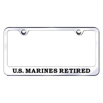 Autogold® - Chrome License Plate Frame with Laser Etched US Marines Retired Logo