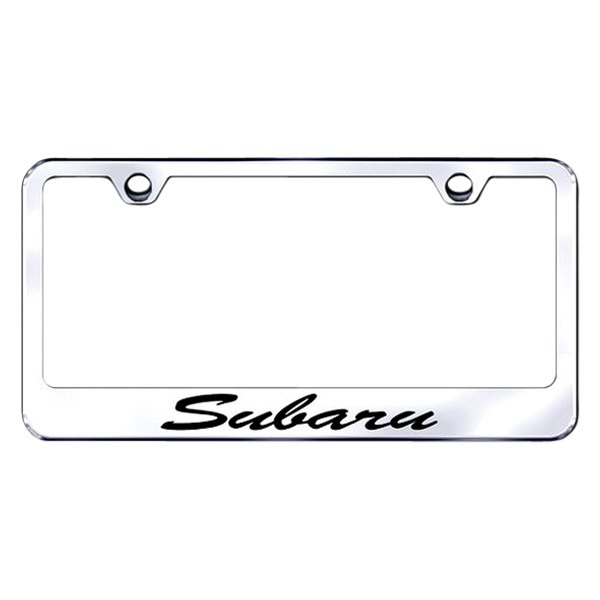 Autogold® - License Plate Frame with Script Laser Etched Subaru Logo