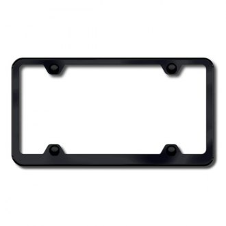 Autogold® - Plain 4-Hole Wide Body Black Powder Coated License Frame
