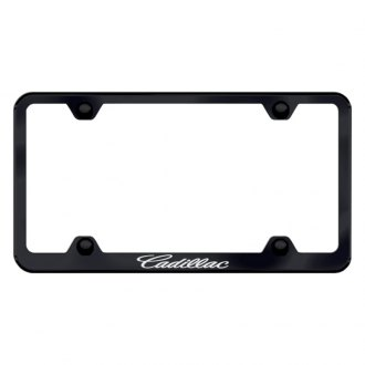 Autogold® - Laser Etched Cadillac on Wide Body Black License Frame