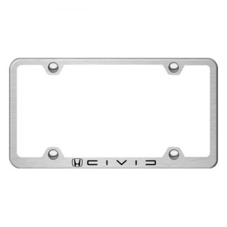 Autogold® - Laser Etched Civic Reverse C Logo on Wide Body Brushed Stainless Frame