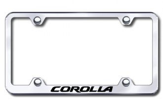 Autogold® - Laser Etched Corolla Logo on Wide Body Chrome Metal Frame