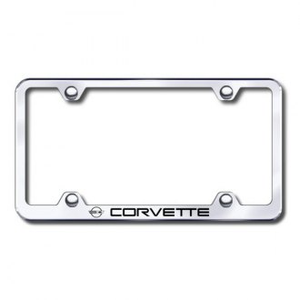 Autogold® - Laser Etched Corvette C4 Logo on Wide Body Chrome Frame