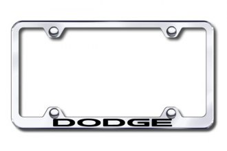 Autogold® - Laser Etched Dodge Logo on Wide Body Chrome Metal Frame