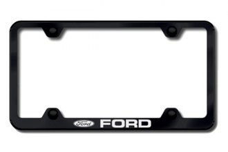 Autogold® - Ford Logo on Black License Plate Frame