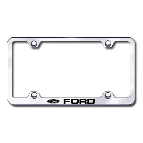 Autogold® - Laser Etched Ford Logo on Wide Body Chrome Metal Frame