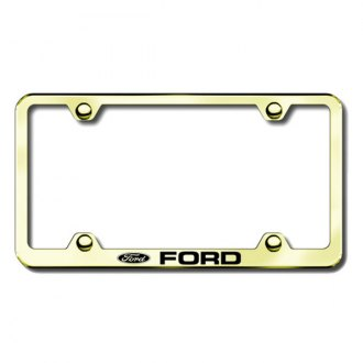 Autogold® - Laser Etched Ford Logo on Wide Body Gold License Plate License Frame
