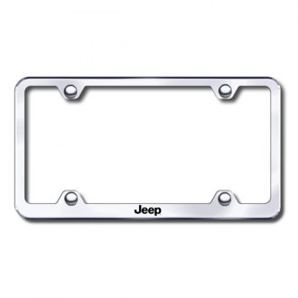 Autogold® - Laser Etched Jeep Logo on Wide Body Chrome Metal License Frame