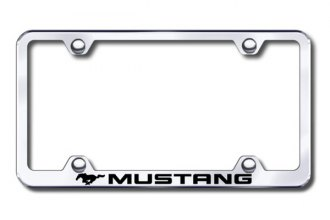 Autogold® - Laser Etched Mustang Logo on Wide Body Chrome Metal Frame